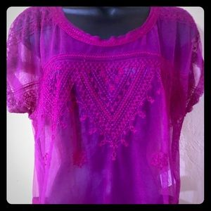 SOLD Free People embroidered sheer blouse medium